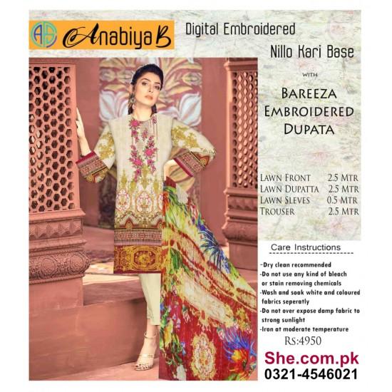 Nillo Kari Base with Bareeza Embroidered Dupata - D1