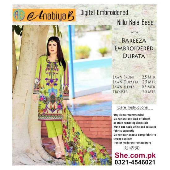 Nillo Kari Base with Bareeza Embroidered Dupata - D10