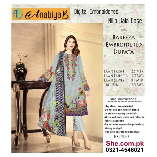 Nillo Kari Base with Bareeza Embroidered Dupata - D12