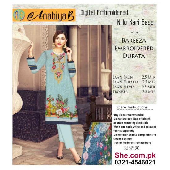 Nillo Kari Base with Bareeza Embroidered Dupata - D4
