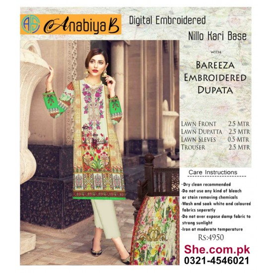 Nillo Kari Base with Bareeza Embroidered Dupata - D9