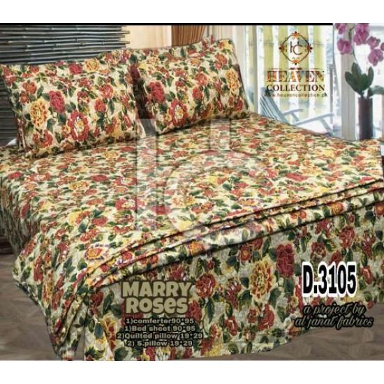 Cotton Pc Comforter Set 6pcs (Marry Roses 3105)